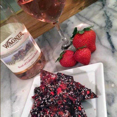 Dry Rose with strawberries and chocolate